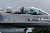 Pilot and passenger in Lockheed Martin F-16 Fighting Falcon from Belgian Air Force 349 squadron.  BOLD AVENGER 2007 (BAR 07), a NATO  air exercise at Ørland Main Air Station, Norway. BAR 07 involved air forces from 13 NATO member nations: Belgium, Canada, the Czech Republic, France, Germany, Greece, Norway, Poland, Romania, Spain, Turkey, the United Kingdom and the United States of America. The exercise was designed to provide training for units in tactical air operations, involving over 100 aircraft, including combat, tanker and airborne early warning aircraft and about 1,450 personnel.