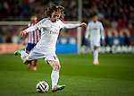Vicente Calderon. Madrid. Spain. 11.02.2014. Football match between Atletico de Madrid and Real Madrid. Luca Modric