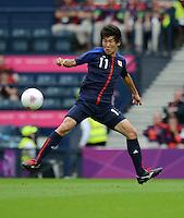 26.07.2012. Glasgow, Scotland. Mens Olympic football preliminary  rounds.  Spain versus Japan. Kensuke Nagai Japan Individual action at Ball