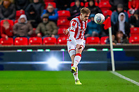 11th January 2020; Bet365 Stadium, Stoke, Staffordshire, England; English Championship Football, Stoke City versus Milwall FC; Liam Lindsay of Stoke City kicks the ball forward - Strictly Editorial Use Only. No use with unauthorized audio, video, data, fixture lists, club/league logos or 'live' services. Online in-match use limited to 120 images, no video emulation. No use in betting, games or single club/league/player publications