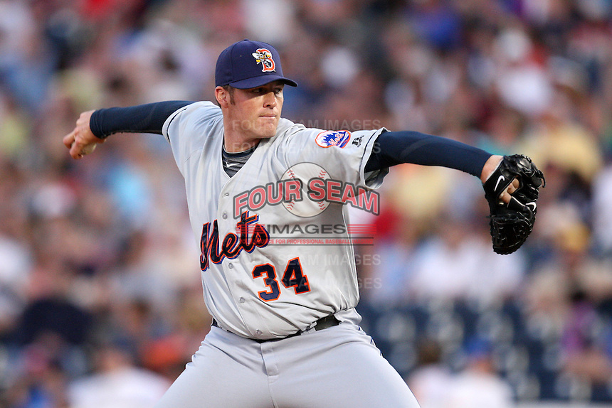 Binghamton Mets Relief Pitcher Eddie Kunz (34) during a game vs. the Akron Aeros at Eastwood Field in Akron, Ohio;  June 25, 2010.   Binghamton defeated Akron 5-3.  Photo By Mike Janes/Four Seam Images