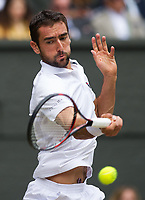 Marin Cilic (7) of Croatia in action Sam Querrrey (24) of United States in their Men's Singles Semi Final Match today<br /> <br /> Photographer Ashley Western/CameraSport<br /> <br /> Wimbledon Lawn Tennis Championships - Day 11 - Friday 14th July 2017 -  All England Lawn Tennis and Croquet Club - Wimbledon - London - England<br /> <br /> World Copyright &not;&copy; 2017 CameraSport. All rights reserved. 43 Linden Ave. Countesthorpe. Leicester. England. LE8 5PG - Tel: +44 (0) 116 277 4147 - admin@camerasport.com - www.camerasport.com