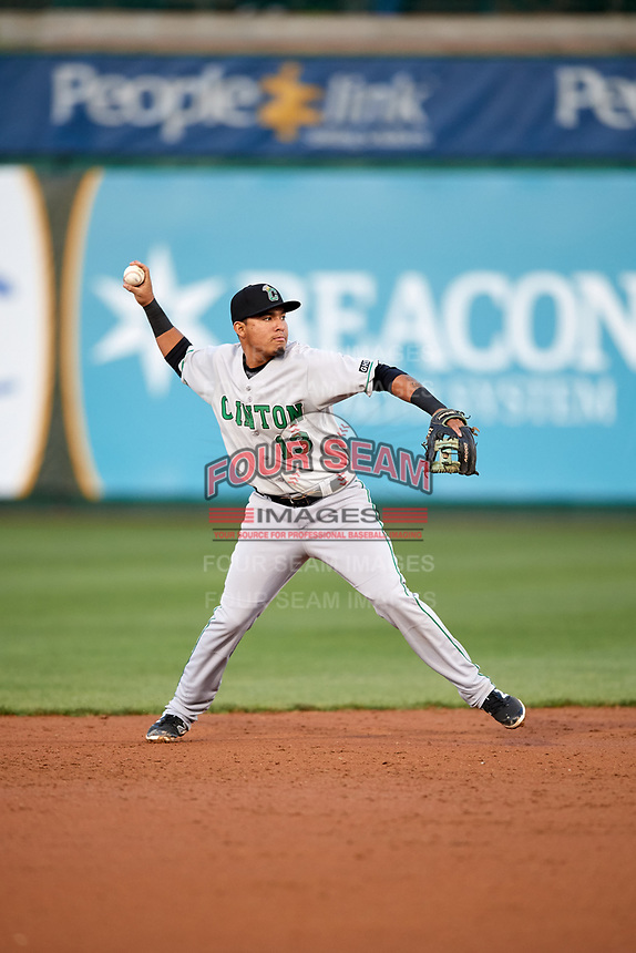 Clinton LumberKings shortstop Rayder Ascanio (13) throws to first base during a game against the South Bend Cubs on May 5, 2017 at Four Winds Field in South Bend, Indiana.  South Bend defeated Clinton 7-6 in nineteen innings.  (Mike Janes/Four Seam Images)