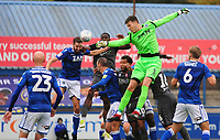 Lincoln City's John Akinde vies for possession with Macclesfield Town's Kieran O'Hara, which results in Lincoln City's Jason Shackell netting the winning goal<br /> <br /> Photographer Andrew Vaughan/CameraSport<br /> <br /> The EFL Sky Bet League One - Macclesfield Town v Lincoln City - Saturday 15th September 2018 - Moss Rose - Macclesfield<br /> <br /> World Copyright &copy; 2018 CameraSport. All rights reserved. 43 Linden Ave. Countesthorpe. Leicester. England. LE8 5PG - Tel: +44 (0) 116 277 4147 - admin@camerasport.com - www.camerasport.com