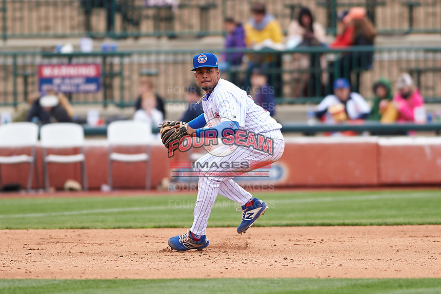 South Bend Cubs third baseman Christopher Morel (29) fields a ground ball during a Midwest League game against the Cedar Rapids Kernels at Four Winds Field on May 8, 2019 in South Bend, Indiana. South Bend defeated Cedar Rapids 2-1. (Zachary Lucy/Four Seam Images)