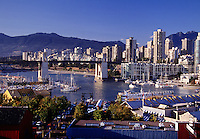 View of skyline and harbor from Granville Island, Vancouver, BC, Canada