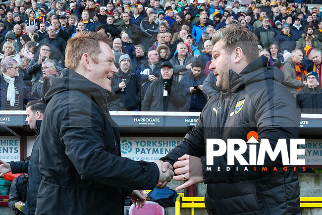 Bradford City head coach David Hopkin and Oxford United manager Karl Robinson during the Sky Bet League 1 match between Bradford City and Oxford United at the Northern Commercial Stadium, Bradford, England on 24 November 2018. Photo by Thomas Gadd.