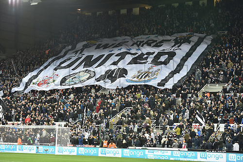 "February 20th 2017, St James Park, Newcastle, England; Skybet Championship football, Newcastle versus Aston Villa; ""We are United"" flag going round the stadium"