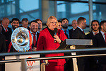 Ann Jones, Deputy Presiding Officer of the National Assembly for Wales speaking at the welcome event for the Wales's national rugby team who won both the Six Nations and the Grand Slam at the National Assembly for Wales Senedd building in Cardiff Bay today for a public celebration event.