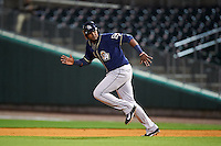 San Antonio Missions third baseman Duanel Jones (17) steals second during a game against the NW Arkansas Naturals on May 30, 2015 at Arvest Ballpark in Springdale, Arkansas.  San Antonio defeated NW Arkansas 5-2.  (Mike Janes/Four Seam Images)