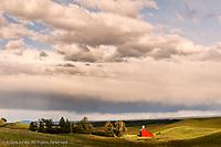 Red barn and rolling hills of wheat, Palouse region of western Idaho, near Moscow, Idaho.