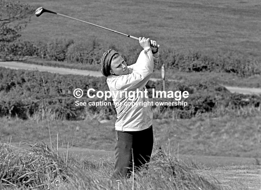 Carole McAuley, Belfast, N Ireland, leading Ulster woman amateur golfer, 1968050134a.<br /> <br /> Copyright Image from Victor Patterson,<br /> 54 Dorchester Park, <br /> Belfast, UK, BT9 <br /> <br /> t1: +44 28 9066 1296 (from Rep of Ireland 048 90661296)<br /> t2: +44 28 9002 2446 (from Rep of Ireland 048 9002 2446)<br /> <br /> m: +44 7802 353836<br /> <br /> e: victorpatterson@me.com<br /> www.victorpatterson.com<br /> <br /> Please see my Terms and Conditions of Use at www.victorpatterson.com. It is IMPORTANT that you familiarise yourself with them.<br /> <br /> Images used on the Internet must be visibly watermarked i.e. &copy; Victor Patterson<br /> within the body of the image and copyright metadata must not be deleted. Images <br /> used on the Internet have a size restriction of 4kbs and will be chargeable at current<br />  NUJ rates unless agreed otherwise.<br /> <br /> This image is only available for the use of the download recipient i.e. television station, newspaper, magazine, book publisher, etc, and must not be passed on to any third <br /> party. It is also downloaded on condition that each and every usage is notified within 7 days to victorpatterson@me.com<br /> <br /> The right of Victor Patterson to be identified as the author is asserted in accordance with The Copyright Designs And Patents Act (1988). All moral rights are asserted.