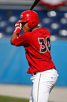 June 19, 2009:  Catcher Ivan Castro of the Batavia Muckdogs at bat during a game at Dwyer Stadium in Batavia, NY.  The Muckdogs are the NY-Penn League Short-Season Class-A affiliate of the St. Louis Cardinals.  Photo by:  Mike Janes/Four Seam Images