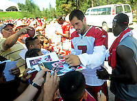 Jul 30, 2008; Flagstaff, AZ, USA; Arizona Cardinals quarterback Matt Leinart signs autographs during training camp on the campus of Northern Arizona University. Mandatory Credit: Mark J. Rebilas-