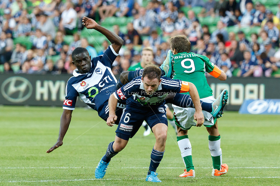 Jason GERIA of the Victory falls to the ground  in round 12 A-League match between Melbourne Victory and Newcastle Jets at AAMI Park in Melbourne, Australia during the 2014/2015 Australian A-League season. Melbourne def Newcastle 1-0