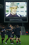 Blackburn Rovers 3, Huddersfield Town 1, 22/09/2005. Ewood Park, Carling Cup. Blackburn manager Mark Hughes on the stadium's big screen keeping a watchful eye on the Huddersfield players as they go through their pre-match warm-up. Photo by Colin McPherson.