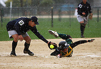 Hutt valley's Kiri Shaw beats Auckland's Tuhi Cooper to second base. Hutt Valley v Auckland Angels - National League Softball Championship finals at Fraser Park, Wellington, New Zealand on Sunday 2 February 2009. Photo: Dave Lintott / lintottphoto.co.nz