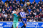 FC Barcelona's midfielder Ivan Rakitic competes for the ball with Club Deportivo Alaves'es defender Theo Hernandez during the match of La Liga between Deportivo Alaves and Futbol Club Barcelona at Mendizorroza Stadium in Vitoria, Spain. February 11, 2017. (ALTERPHOTOS/Rodrigo Jimenez)