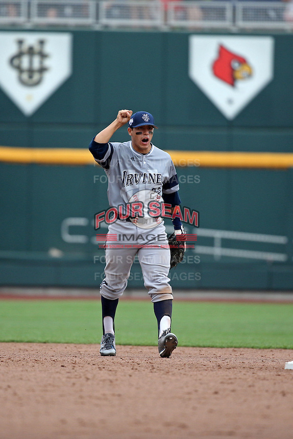 Chris Rabago #22 of the UC Irvine Anteaters celebrates during Game 1 of the 2014 Men's College World Series between the UC Irvine Anteaters and Texas Longhorns at TD Ameritrade Park on June 14, 2014 in Omaha, Nebraska. (Brace Hemmelgarn/Four Seam Images)