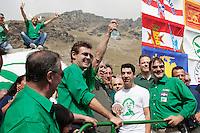 Pian del Re: Roberto Cota, Umberto Bossi e Renzo Bossi partecipano alla festa dei popoli padani organizzata dalla Lega Nord per il rito dell'ampolla alle sorgenti del Po.