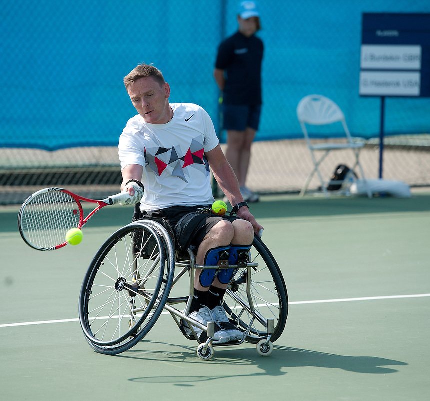 James Burdekin (GBR) in action during his victory over Greg Hasterok (USA) in their Mens Quad Singles Quarter Final match today - James Burdekin (GBR) def Greg Hasterok (USA) 6-0 6-0<br /> <br /> Tennis - British Open Wheelchair Tennis Championships - Wednesday 17th July 2012 - Nottingham Tennis Centre - Nottingham<br /> <br /> &copy; Tennis Foundation/James Jordan - The National Tennis Centre - 100 Priory Lane - Roehampton - London - SW15 5JQ - Tel 020 8487 7304 - info@tennisfoundation.org.uk