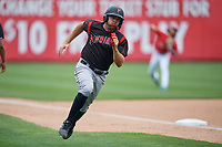 Indianapolis Indians Eric Wood (14) scores a run during an International League game against the Buffalo Bisons on June 20, 2019 at Sahlen Field in Buffalo, New York.  Buffalo defeated Indianapolis 11-8  (Mike Janes/Four Seam Images)