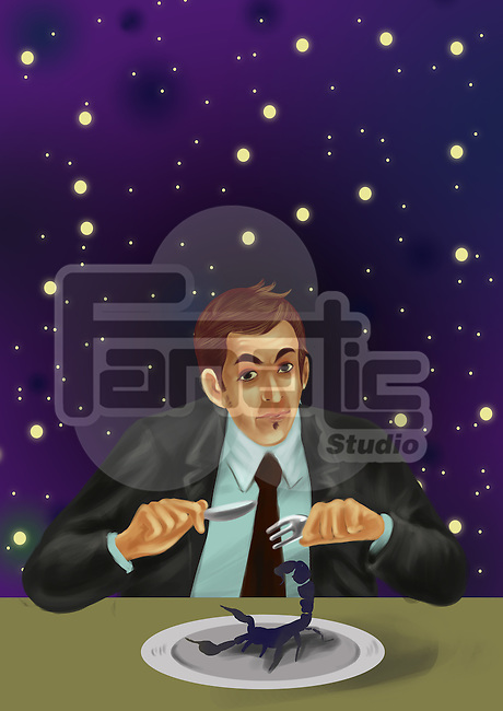 Illustrative image of businessman ready to eat scorpio at table