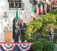 Washington DC, October 18, 2016, USA:  Prime Minister Matteo Renzi of Italy and Mrs. Agnese LandiniÕs arrival at the White House grounds,followed by  opening remarks by President Obama and Prime Minster Renzi, and the review of troops.  Patsy Lynch/MediaPunch