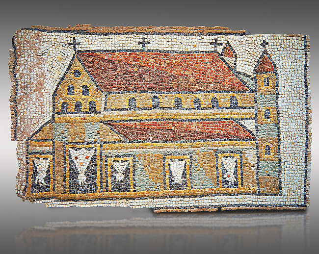 Roman mosaic of a Church with Towers, Eastern Mediterranean, 5th century AD. The church has three naves and is represented in a 'flattened Perspective' as can be seen by the facade and along sides forming a straight continuous line. The mosaic shows the architecture of early Roman Chriatian Basilicas. Inv 3676, The Louvre Museum, Paris