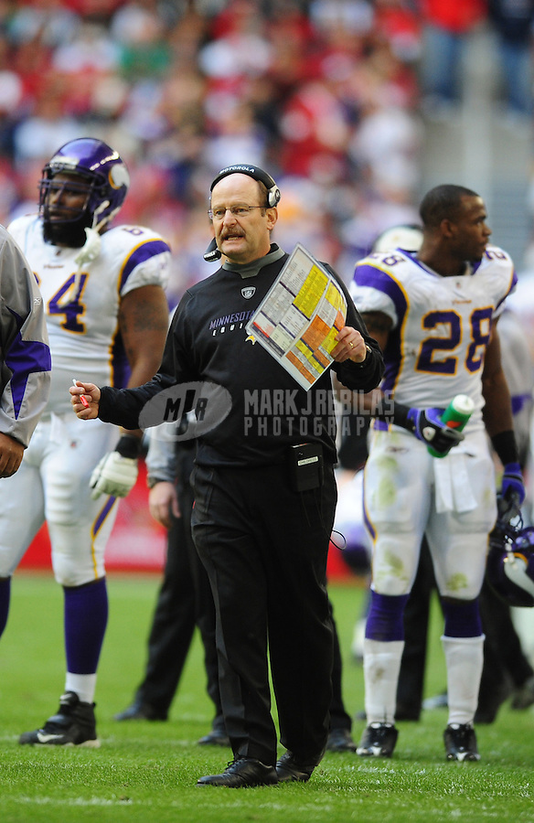Dec. 14, 2008; Glendale, AZ, USA; Minnesota Vikings head coach Brad Childress against the Arizona Cardinals at University of Phoenix Stadium. Mandatory Credit: Mark J. Rebilas-