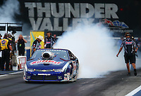 Jun 19, 2015; Bristol, TN, USA; NHRA pro stock driver Jason Line during qualifying for the Thunder Valley Nationals at Bristol Dragway. Mandatory Credit: Mark J. Rebilas-