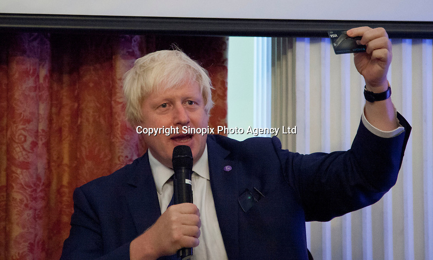 OCTOBER 15, 2015 -TOKYO, JAPAN: Mayor of London Boris Johnson MP at an event at the British Embassy in Tokyo, to encourage collaboration between London and Japan in financial technology.  (Photo / Ko Sasaki  )
