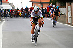 World Champion Peter Sagan (SVK) Bora-Hansgrohe leads on the descent of the Poggio di San Remo during the 108th edition of Milan-San Remo 2017 by NamedSport the first Classic Monument of the season running 291km from Milan to San Remo, Italy. 18th March 2017.<br /> Picture: Luca Bettini/BettiniPhoto | Cyclefile<br /> <br /> <br /> All photos usage must carry mandatory copyright credit (&copy; Cyclefile | La Presse)