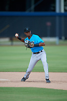 Miami Marlins second baseman Junior Sánchez (96) during practice before an Instructional League game against the Washington Nationals on September 26, 2019 at FITTEAM Ballpark of The Palm Beaches in Palm Beach, Florida.  (Mike Janes/Four Seam Images)