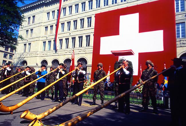Alphorn Musicians, Independence Day, Zurich, Switzerland