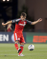 Toronto FC midfielder Nathan Sturgis (11) passes the ball. In a Major League Soccer (MLS) match, the New England Revolution tied Toronto FC, 0-0, at Gillette Stadium on June 15, 2011.