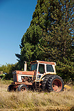 USA, Oregon, Willamette Valley, a tractor on the side of the road near Soter Vineyard, Carlton