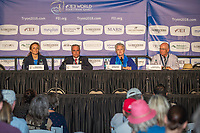 The press conference with the FEI and Organising Committee: Sabrina Ibanez (FEI Secretary General); Igmar de Vos (FEI President); Sharon Decker (COO Tryon 2018); Michael Stone (President Tryon 2018). 2018 FEI World Equestrian Games Tryon. Sunday 23 September. Copyright Photo: Libby Law Photography
