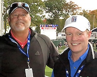 28 SEP 12  Sirius XM Radio hosts Dennis paulson and Matt Adams  during Fridays foresome and four ball matches  at The 39th Ryder Cup at The Medinah Country Club in Medinah, Illinois.