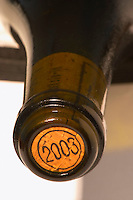 A bottle neck with a cork stamped with the year 2003 - Loire Valley, France