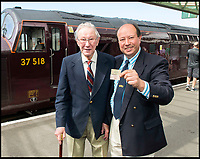 BNPS.co.uk (01202 558833)<br /> Pic: TomWren/BNPS<br /> <br /> Peter Sills with his father Frederick. Frederick took Peter on the last BR train from Swanage to Wareham in 1972 when Peter was a teenager.<br /> <br /> A plucky seaside railway that refused to die is finally rejoing the rail network today after a 45 year fight to reverse the Beeching axe.<br /> <br /> At 10.23 sharp a train will once again leave Swanage in Dorset to rejoin the main network at Wareham, thanks to an army of volunteers who have spent 45 years painstakingly rebuilding their line. 
