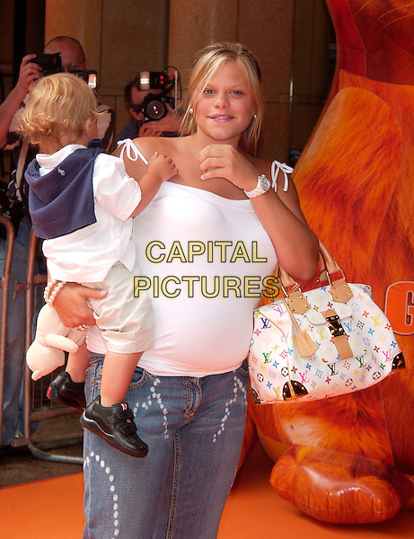 "JADE GOODY &  SON BOBBY JACK.""Garfield : The Movie"" UK charity premiere in aid of Great Ormond Street Children's Hospital,.Vue cinema, Leicester Square,.London, 25th July 2004..half length pregnant jeans white vest top large louis vuitton hand bag .www.capitalpictures.com.sales@capitalpictures.com.©Capital Pictures"