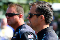 Aug. 3, 2014; Kent, WA, USA; NHRA pro stock driver Jonathan Gray (right) and brother Shane Gray during the Northwest Nationals at Pacific Raceways. Mandatory Credit: Mark J. Rebilas-