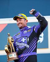 Sep 15, 2019; Mohnton, PA, USA; NHRA funny car driver Jack Beckman celebrates after winning the Reading Nationals at Maple Grove Raceway. Mandatory Credit: Mark J. Rebilas-USA TODAY Sports
