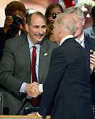 United States Vice President Joe Biden shakes hands with David Axelrod following his acceptance speech at the 2012 Democratic National Convention in Charlotte, North Carolina on Thursday, September 6, 2012.  .Credit: Ron Sachs / CNP.(RESTRICTION: NO New York or New Jersey Newspapers or newspapers within a 75 mile radius of New York City)