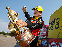 Aug 20, 2017; Brainerd, MN, USA; NHRA top fuel driver Leah Pritchett celebrates after winning the Lucas Oil Nationals at Brainerd International Raceway. Mandatory Credit: Mark J. Rebilas-USA TODAY Sports