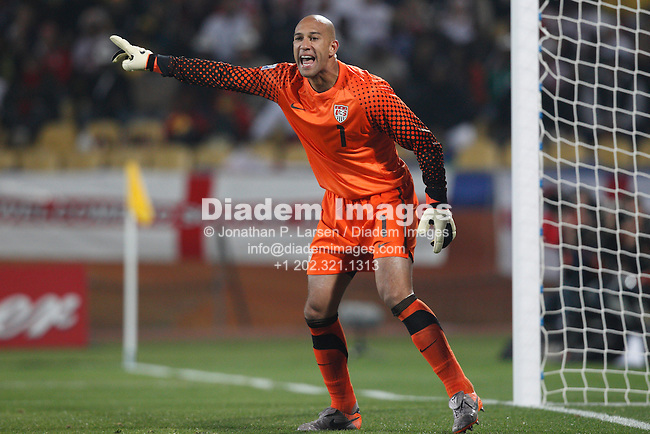 RUSTENBURG, SOUTH AFRICA - JUNE 12:  United States goalkeeper Tim Howard shouts instructions during a 2010 FIFA World Cup soccer match against England June 12, 2010 in Rustenburg, South Africa.  NO mobile use.  Editorial ONLY.  (Photograph by Jonathan P. Larsen)