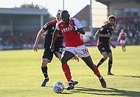 Fleetwood Town&rsquo;s Toumani Diagouraga wins the ball against Jordan Sangha <br /> <br /> Photographer Leila Coker/CameraSport<br /> <br /> The EFL Sky Bet League One - Fleetwood Town v Walsall - Saturday 5th May 2018 - Highbury Stadium - Fleetwood<br /> <br /> World Copyright &copy; 2018 CameraSport. All rights reserved. 43 Linden Ave. Countesthorpe. Leicester. England. LE8 5PG - Tel: +44 (0) 116 277 4147 - admin@camerasport.com - www.camerasport.com