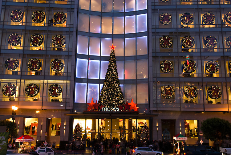 California: San Francisco Christmas celebration, Union Square.  Macy's Department Store. Photo copyright Lee Foster.  Photo # 32-casanf75938