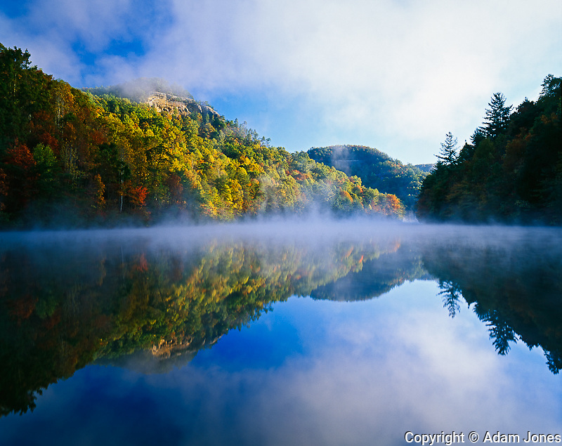 Millcreek Lake and autumn colors at sunrise,Natural Bridge State Park, Kentucky